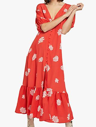Ghost Izzy Midi Crepe Dress, Floral Cluster