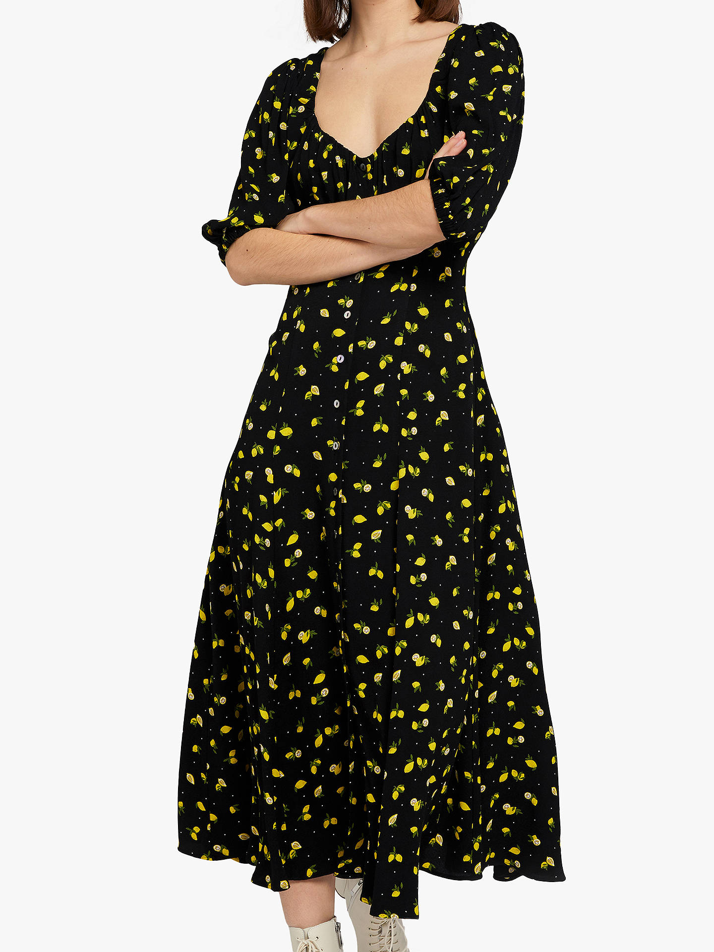 Buy Ghost Alice Midi Dress, Lemon Pairs, XS Online at johnlewis.com