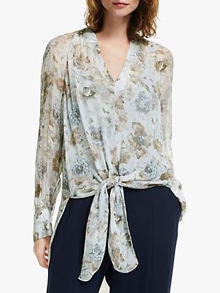 Modern Rarity Winter Blooms Tie Front Top, Blue