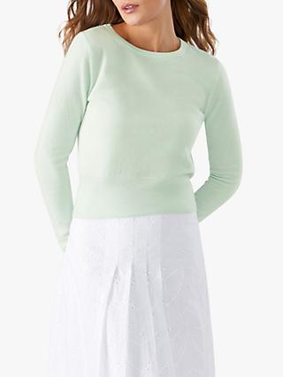 Pure Collection Cropped Cashmere Sweater, Bloom Green
