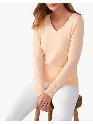 Pure Collection V-Neck Cashmere Jumper, Heather Peach