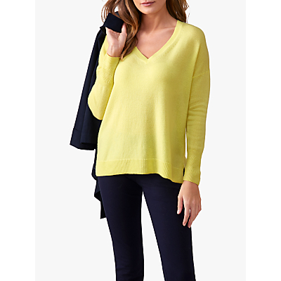 Pure Collection Relaxed V-Neck Cashmere Jumper, Limeade