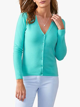 Pure Collection V-Neck Cashmere Cardigan, Spring Jade, Spring Jade