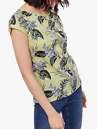 44fef8cc80693 Oasis Lilac Flower Print Slub Cotton T-Shirt