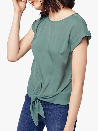 Buy Oasis Casual Roll Sleeve T-Shirt, Khaki, 8 Online at johnlewis.com