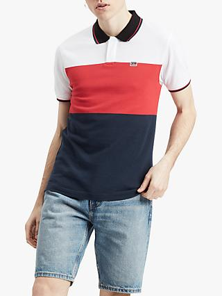 40906048 Levi's Sportswear Colour Block Polo Shirt, Polo White/Brilliant Red/Navy