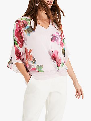 839c242473f878 Phase Eight Adelle Floral Print Silk Blouse, Pink/Multi
