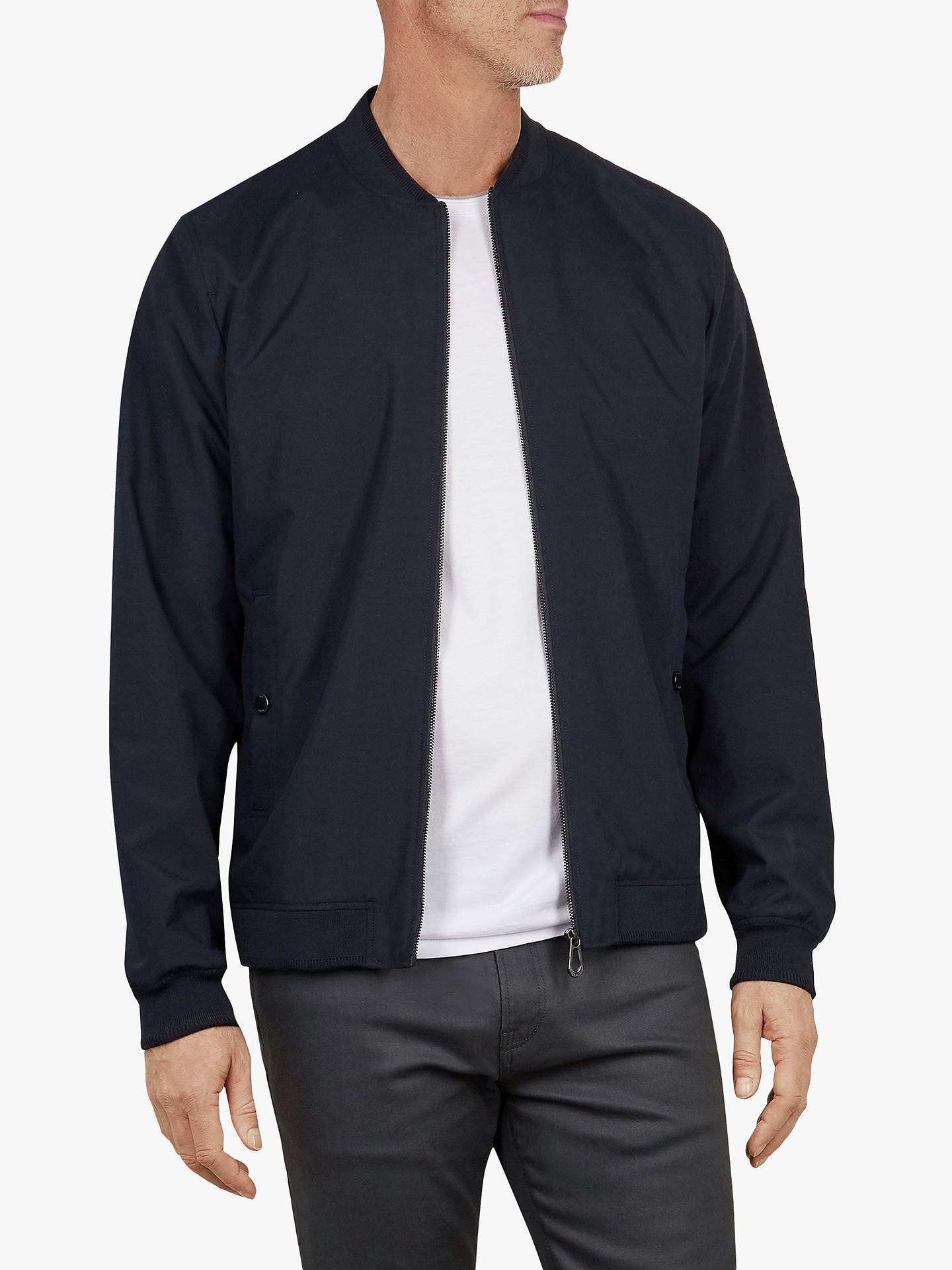 e0cf81a6f Ted Baker T for Tall Lenntt Microfibre Bomber Jacket, Navy Blue at ...