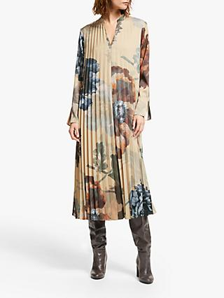 Modern Rarity Archive Print Pleated Maxi Dress, Natural