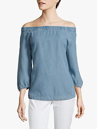 Betty Barclay Washed Denim Bardot Neck Blouse, Light Blue