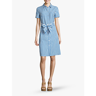 Betty Barclay Stripe Bow Shirt Dress, Blue/White