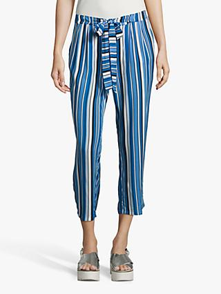 Betty Barclay Cropped Stripe Trousers, Dark Blue/Blue