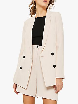 Mint Velvet Double Breasted Blazer, Light Pink