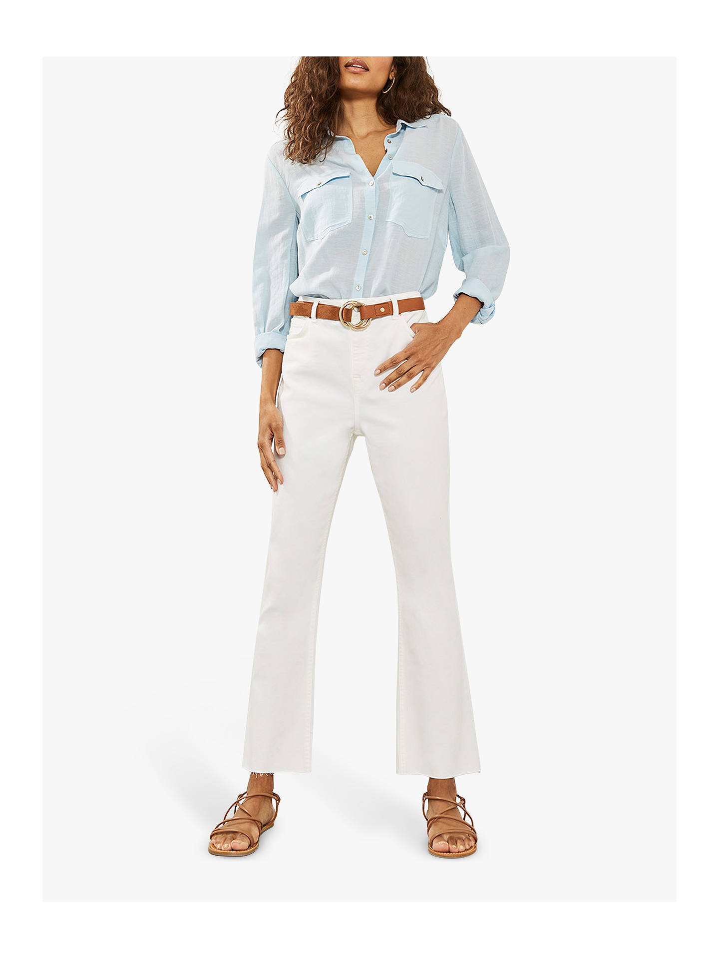 Buy Mint Velvet Nevada Raw Hem Jeans, White, 6L Online at johnlewis.com