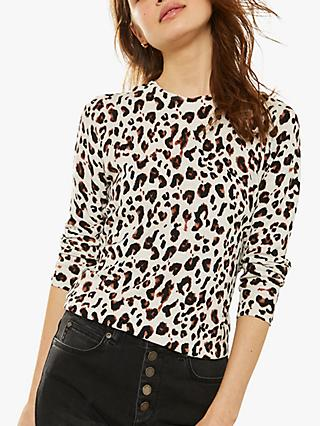 86c8597204fcd7 Mint Velvet Animal Print Crew Neck Knit