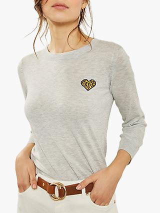 Mint Velvet Animal Heart Motif Charity Jumper, Light Grey