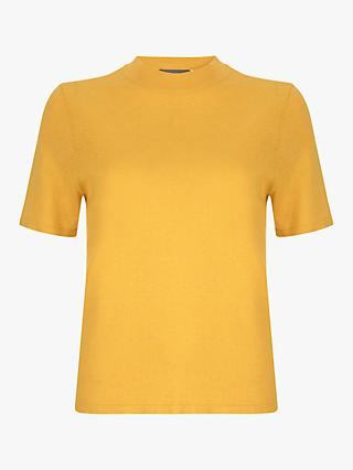 Mint Velvet Metallic T-Shirt, Yellow