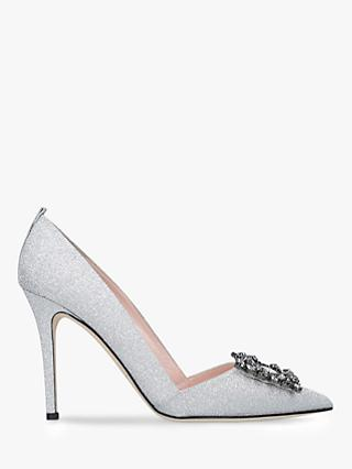 SJP by Sarah Jessica Parker Markle Embellished Stiletto Heel Court Shoes, Silver