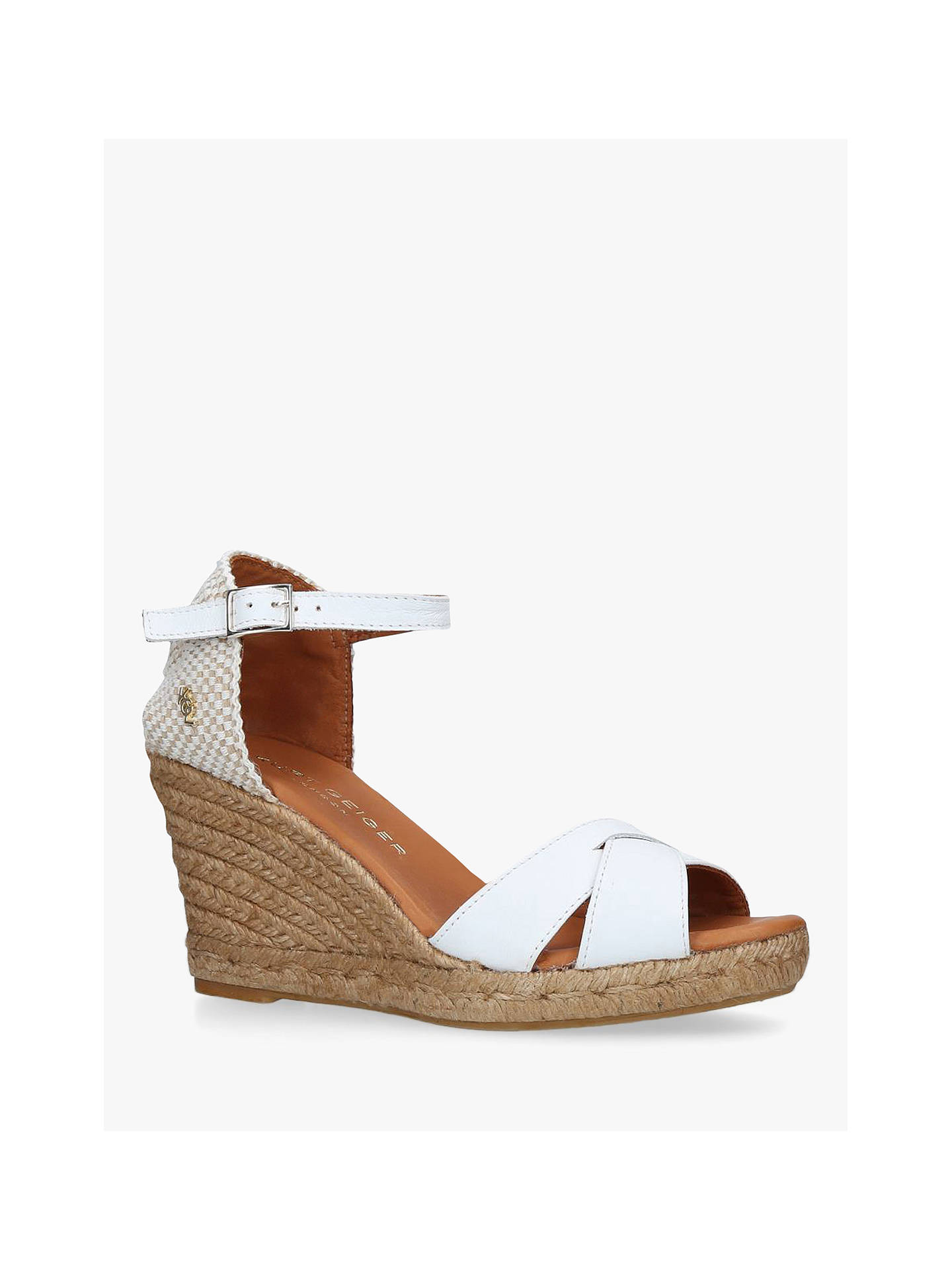 Buy Kurt Geiger London Leona Woven Wedge Sandals, White Leather, 3 Online at johnlewis.com