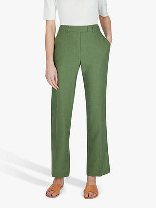 Buy Jaeger Linen Parallel Leg Trousers, Khaki, 16 Online at johnlewis.com