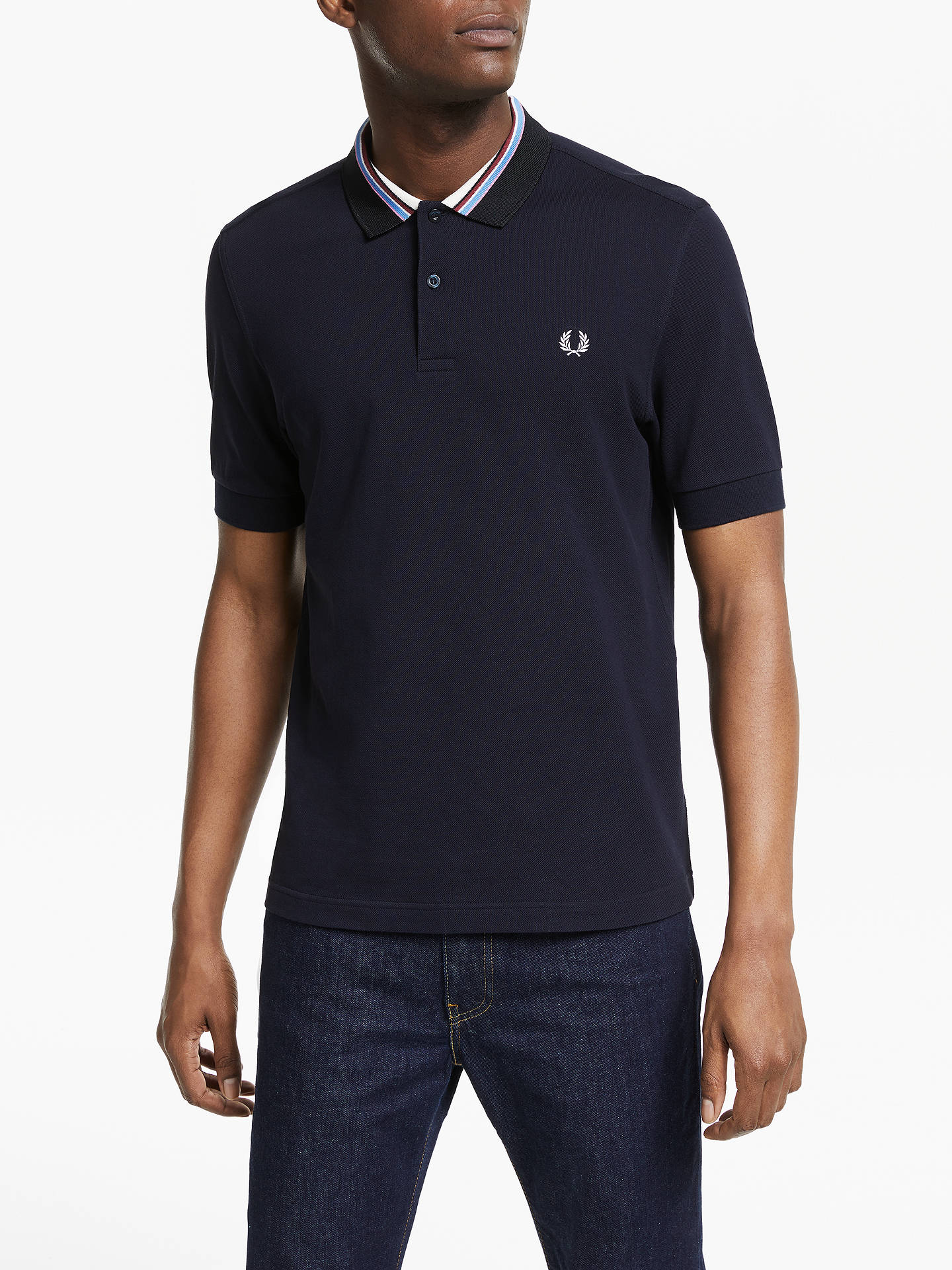 240b4d558 Fred Perry Stripe Tipped Pique Polo Shirt, Navy