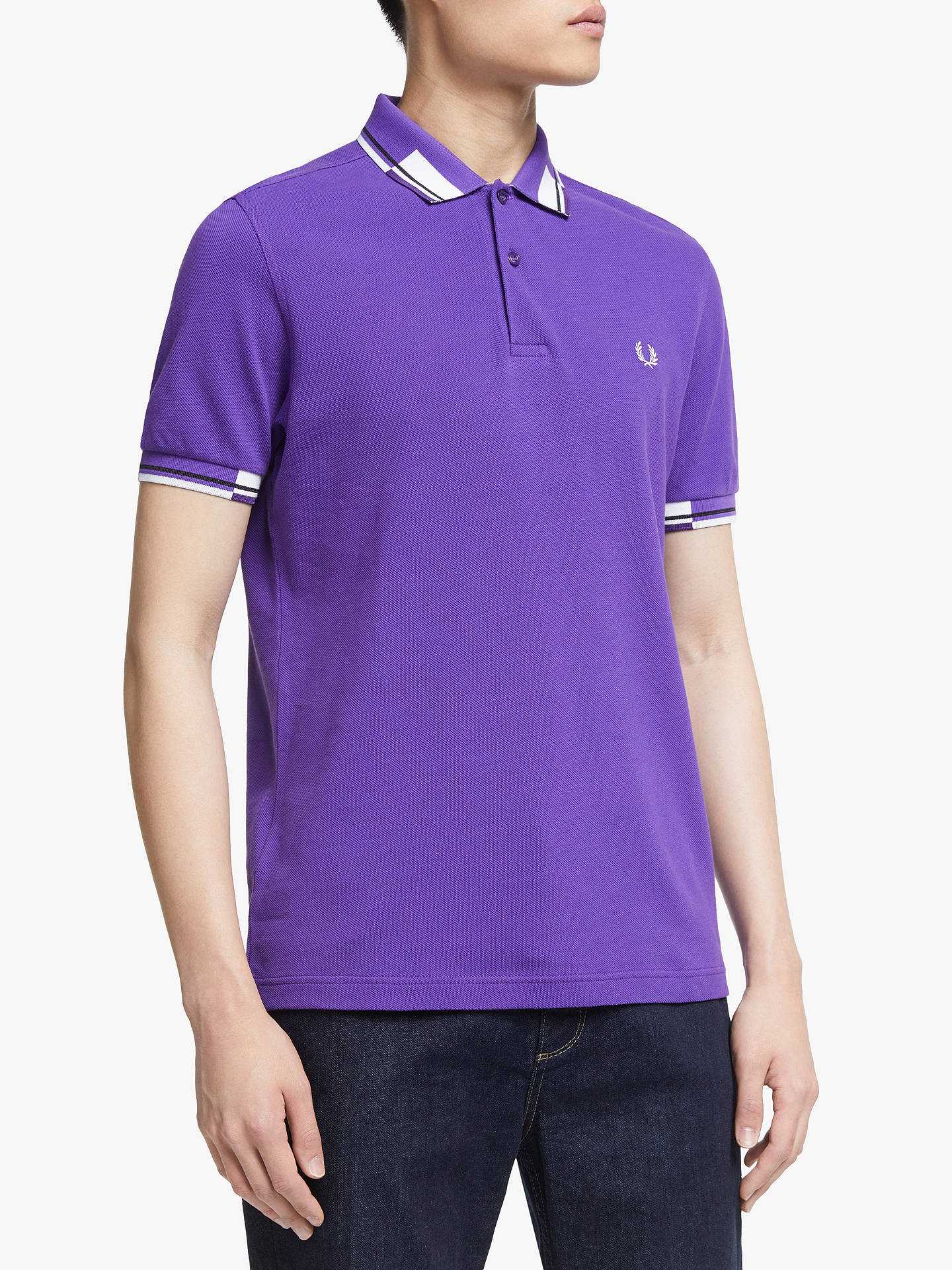 Fred Perry Abstract Block Tipped Polo Shirt, Purple by Fred Perry