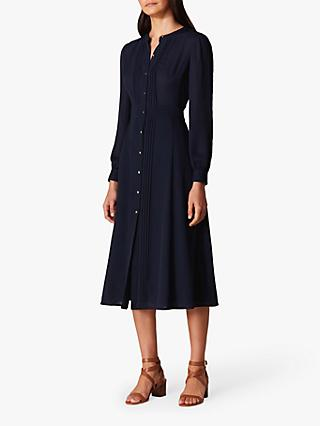 Karen Millen Pleated Shirt Dress, Navy