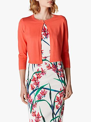 Karen Millen Open Front Three-Quarter Sleeve Cardigan, Coral