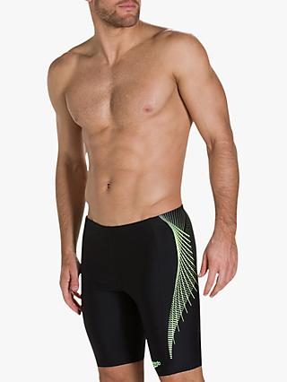 Speedo Placement Panel Jammer Swim Shorts, Black/Zest/Oxid Grey