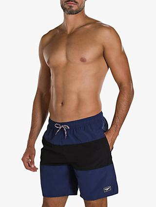 "Speedo Panel Leisure 18"" Swim Shorts, Navy/Black"