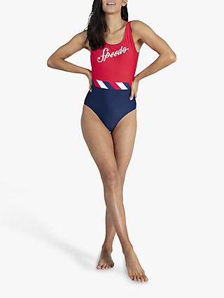 Speedo Shoreline Swimsuit, Navy/Red