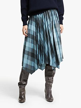 Modern Rarity Check Pleated Skirt, Blue
