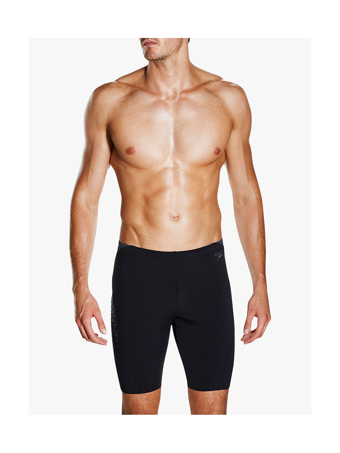 b1508c2a0a0 Buy Speedo Placement Panel Jammer Swim Shorts, Black/Oxid Grey, 30 Online  at ...