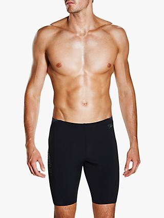 Speedo Placement Panel Jammer Swim Shorts, Black/Oxid Grey