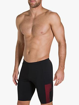 Speedo Mesh Panel Jammer Swim Shorts, Black/Lava Red