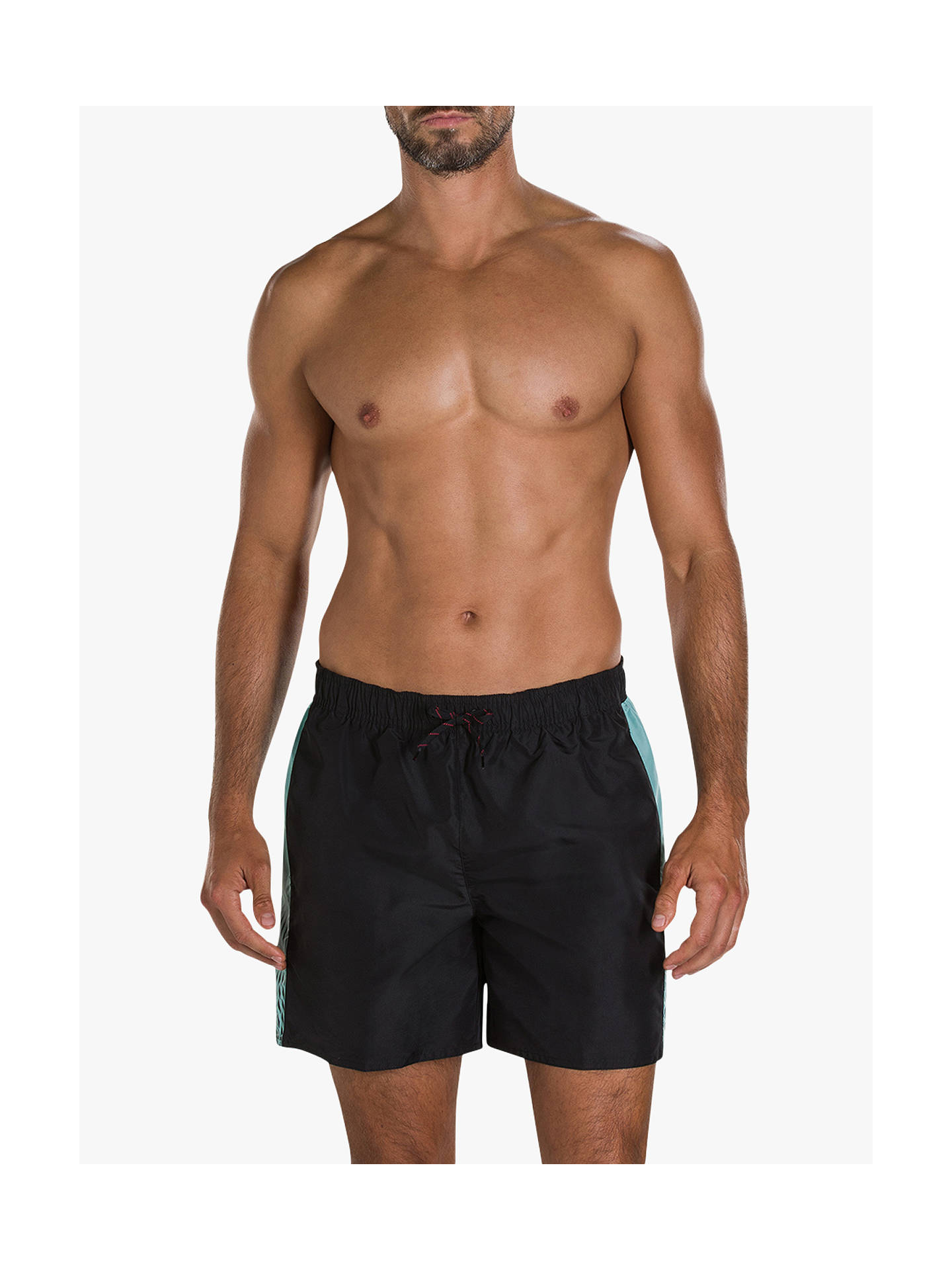 "Buy Speedo Sport Vibe 16"" Swim Shorts, Black/Sage, S Online at johnlewis.com"