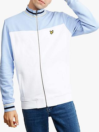 Lyle & Scott Tipped Funnel Neck Full Zip Top, White/Blue