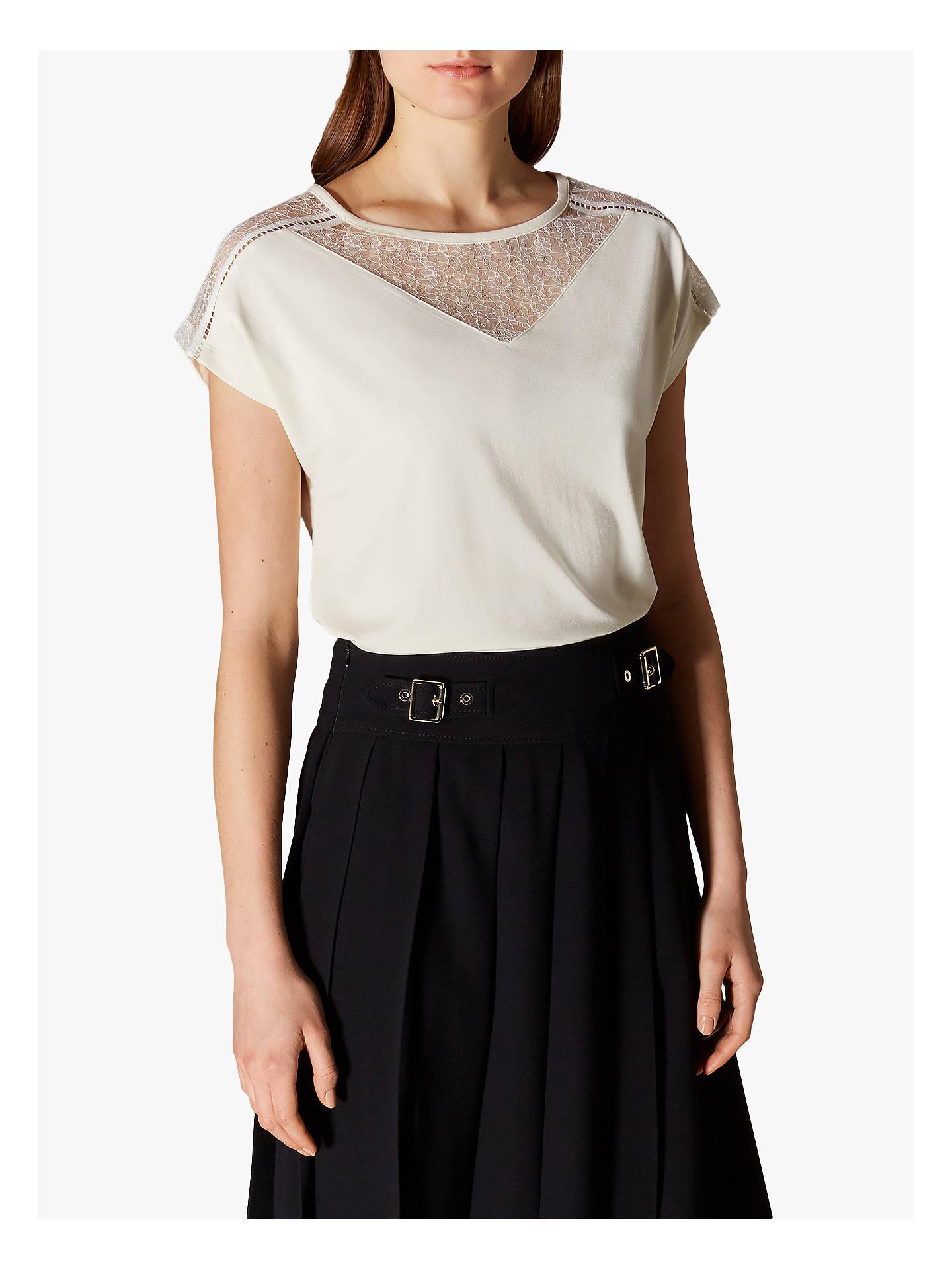 07ceb133 Buy Karen Millen Lace Panel T-Shirt, Ivory, 8 Online at johnlewis.