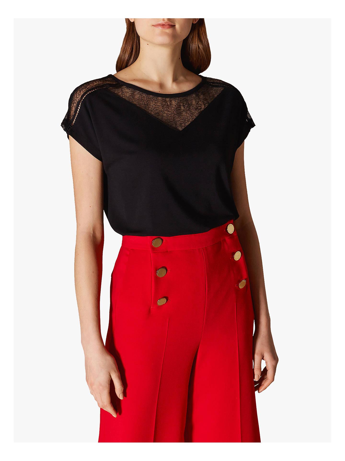 f17c9c75 Buy Karen Millen Lace Panel T-Shirt, Black, 6 Online at johnlewis.
