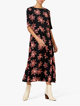 Finery Madalyn Floral Midi Dress, Black/Multi