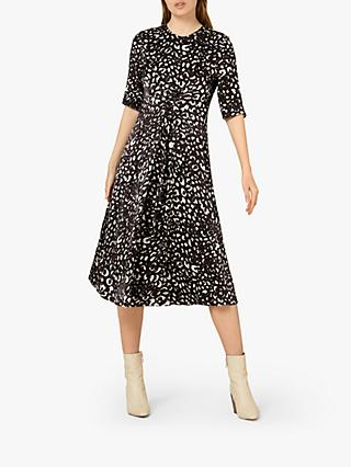 Finery Rachel Animal Print Twist Front Dress, Brown/Multi