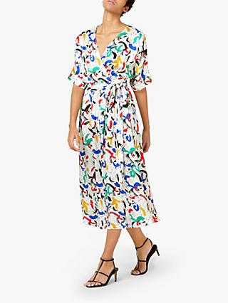 Finery Sabine Abstract Print Wrap Dress, Multi