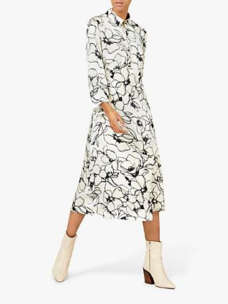 Finery Jules Floral Dress, Monochrome