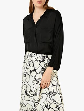 Finery Jade Patch Pocket Blouse, Black