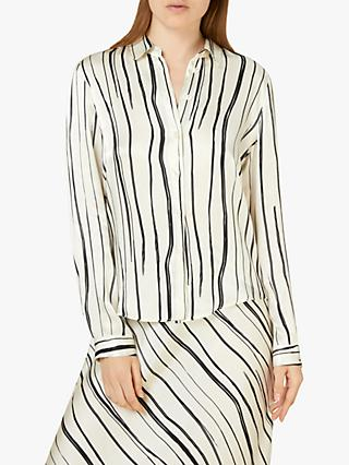 Finery Lottie Graphic Stripe Shirt, Black/White