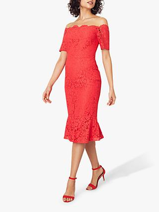 Oasis Lace Bardot Pencil Dress, Coral