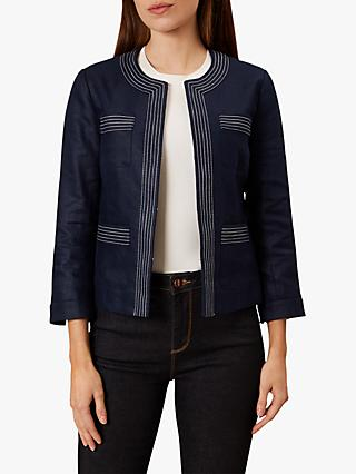 Hobbs Avalynn Linen Jacket, Navy/White