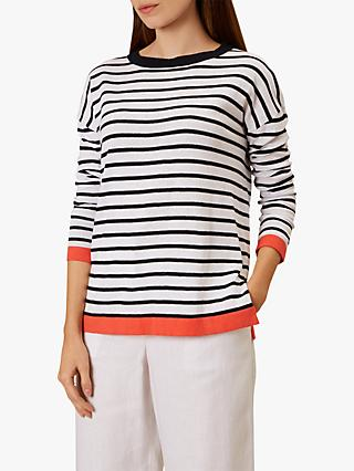 Hobbs Amelia Sweater Jumper, Ivory/Navy