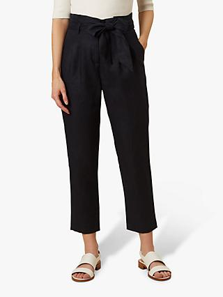 Hobbs Hadlee Tapered Paper Bag Waist Trousers, Navy