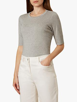 Hobbs Striped Daisy Top, Silver Grey